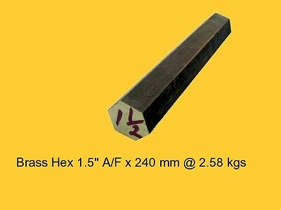 "Brass Hex 1.5"" A/F x  240 mm-Lathe-Steam-Mill-OG"