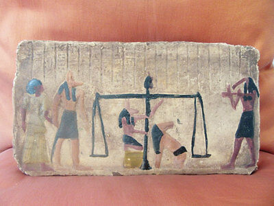 RARE Amazing Hand Carved Antique Egyptian Wall Plaque of Ancient JUDGMENT DAY