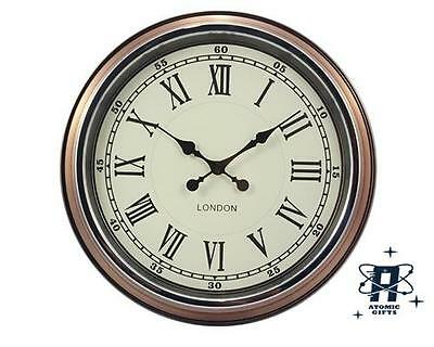 Retro Vintage Style London Large Metal Wall Clock Copper With White Face  Et276