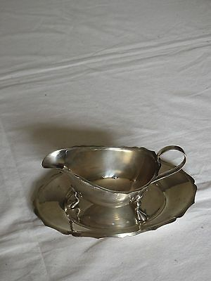 "silver plated gravy boat and stand Angorax EPNS 7.5""x5""base, 6.3""x3.5"" boat"