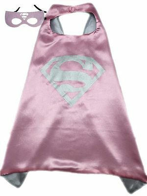 SUPERGIRL DC Universe Mask and Cape Set Super Girl Kid Cosplay Costume Free Ship