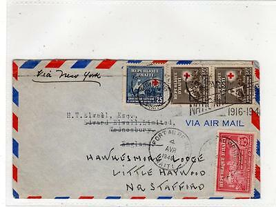 HAITI: Air mail cover to England via New York (C29260)