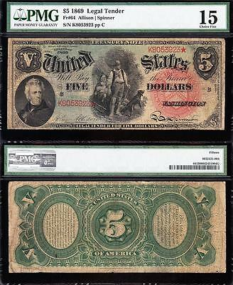 "NICE *RARE* Choice Fine+ 1869 $5 ""RAINBOW"" Woodchopper US Note! PMG 15! K8053923"