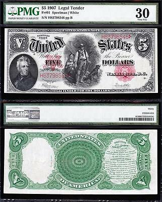 "AWESOME Bold & Crisp VF++ $5 1907 ""WOODCHOPPER"" US Note! PMG 30! H83798546"