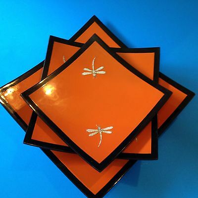 Set x 3 - Asian Square Black & Orange Tray Plates - Dragonfly Motif
