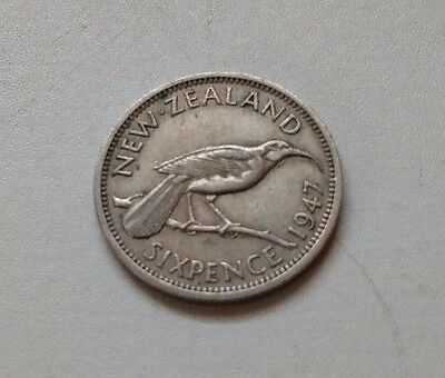 1947 NEW ZEALAND SIXPENCE COIN Great Detail