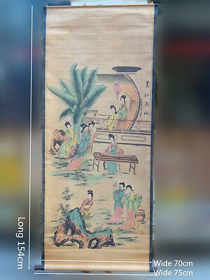 Chinese ancient beauty Beautiful girl , Vintage style Scroll Paper Mural fresco