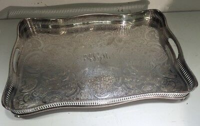 "Large Reed & Barton Silverplate Ball & Claw Footed Pierced 18""x12"" Platter Tray"