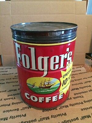 Vintage Folger's Coffee Tin With Lid, 1952 Copyright