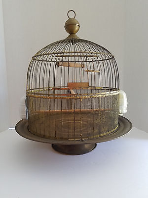 Vintage Hendryx Art Deco 1930s Brass Birdcage USA with Feeders