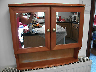 Pine Bathroom Cabinet Double Mirror Shelf Vintage