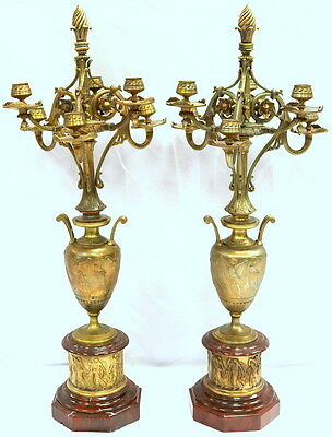 Pair of 19th C. French Bronze & Marble 6-Light Candelabras