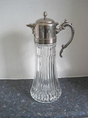 Vintage Glass Pitcher Decanter Claret Jug Zinc and Silver Plated