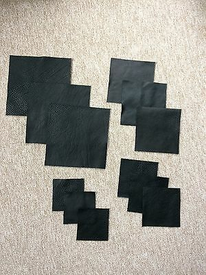 Black full-grain cow hide Italian leather squares, 1.8-2.0mm thick, 12 pieces