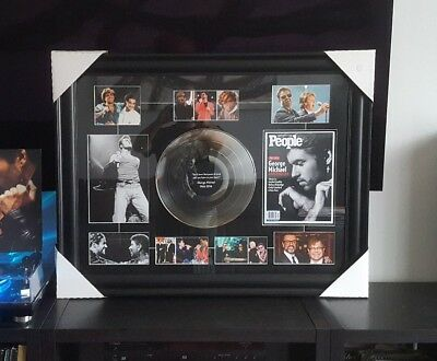 "George Michael Art Picture framed Collage With 12"" Platinum Record Collectible"