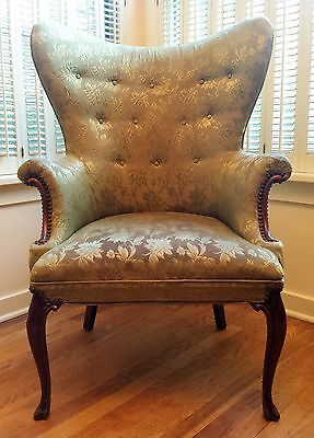 Vintage Wingback Green Floral Accent Arm Chair