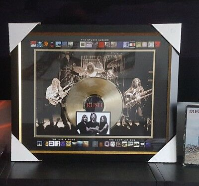 "Rush Official Art Picture framed Collage With 12"" Gold Vinyl Record Collectible"