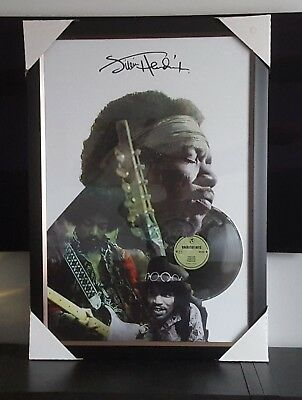 "Jimy Hendrix Art Picture framed Collage With 12"" Platinum Vinyl Collectible"