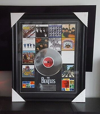 """George Martin The Beatles Art Picture framed Collage With 12"""" Platinum Vinyl Rec"""