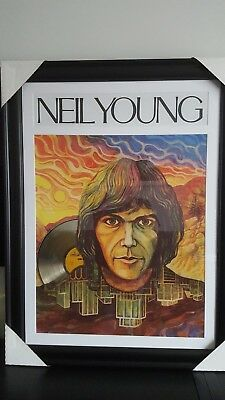 "Neil Young Art Picture framed Collage With 12"" Gold Vinyl collectible New"