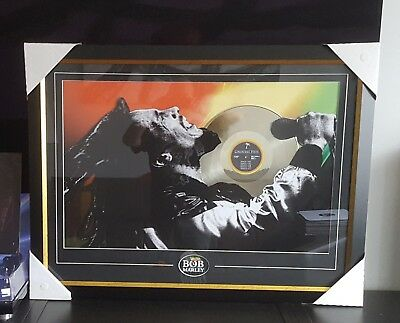 "Bob Marley Art Picture framed Collage With 12"" Gold Vinyl Record Rare Peace"