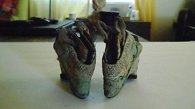 """Antique Hand Embroidered Tiny Bound Foot Lotus Shoes """"Golden Lily"""" 3 1/2"""" long"""