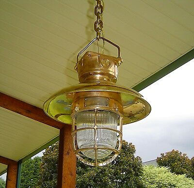 Antique Nautical Brass Hanging Ceiling Light With Rain Cover