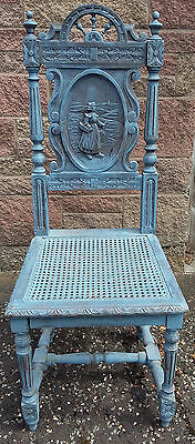 Carved Gothic Antique Chair with Cane Seat Blue