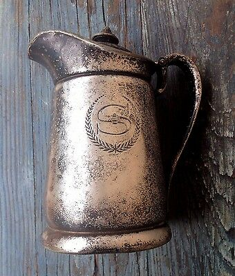 Sheraton East Antique Hotel Silver Soldered Metal Pitcher, Hollywood Regency