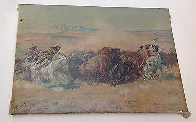 Russell When Sioux and Blackfeet Meet Color Foil Etch Print Vintage Charles M