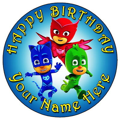 "Pj Masks Birthday Party - 7.5"" Personalised Round Edible Icing Cake Topper (1)"