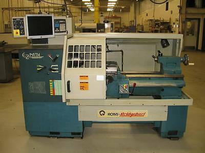 Used 1995 Bridgeport Romi EZ-Path CNC Manual Lathe 16x40 A2-5 MT #4 Auto Lube