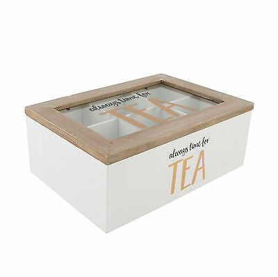 Always Time For Tea Bag Storage Box Wooden Container Organiser Caddy Chest Tin