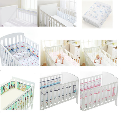 Breathable Baby Airflow Mesh Liner Bumper For 2 SIDED ( SOLID END ) COT / COTBED