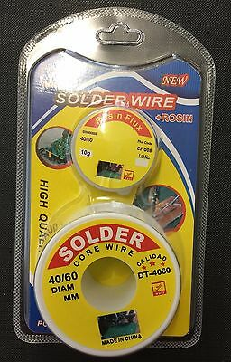 Fine Solder Wire 60/40 0.6mm  soldering wire + Rosin flux   uk stock