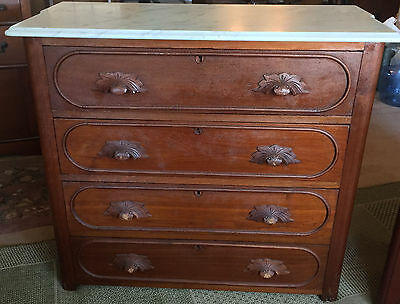 Antique Dresser and Wash Stand/Table with Marble Tops!