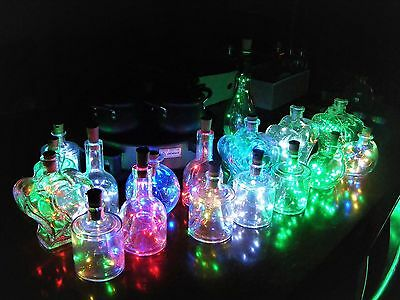 Glass Bottles With 20 LED Battery Lights Inc Xmas Party Wedding Table 5 Colours!
