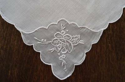 Set 8 Vintage Linen Dinner Napkins Organdy Embroidered Rose Madeira Whitework