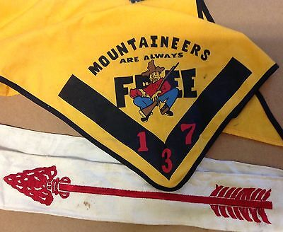 BSA Boy Scout Mountaineers Scarf 137 Always Free order of Red Arrow sash 1970's