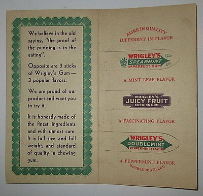 VTG Wrigley Spearmint Juicy Fruit Doublemint Chewing Gum Advertising Booklet