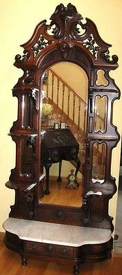 Renaissance Walnut And Burl Marble Top Etagere