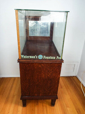 Antique 1910s Large Wood Glass Display Cabinet Case Watermans Ideal Fountain Pen