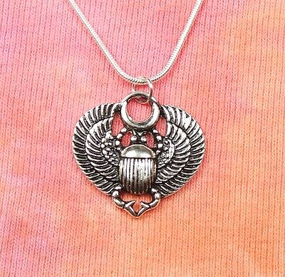 "Egyptian Scarab Necklace, Winged Beetle Egypt Life Amulet pick 16-36"" long chain"