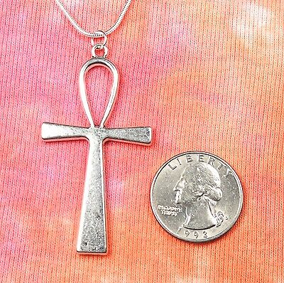 "Large Ankh Necklace, pick 16""-36"" inch silver snake chain, Egyptian Key of Life"