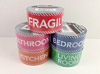 Color Coded Moving Tape YOU PICK Living Room Bedroom Kitchen Bathroom Fragile