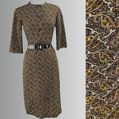 Vintage Late 1950s - Early 1960s Paisley Wiggle - 50s/ 60s Dress