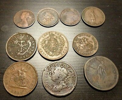 Lot of 10 vintage Canada bank tokens 1800's
