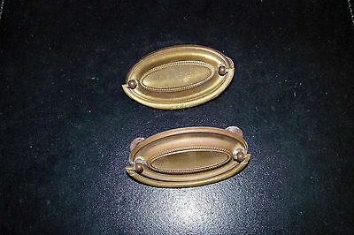 Pair of Antique Brass Backplates and Drawer Handles or Pulls