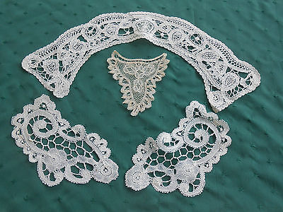 4 Pieces Hand Made Lace, Collar, Cuffs And Insert In V.g. Cond. Vintage 1900