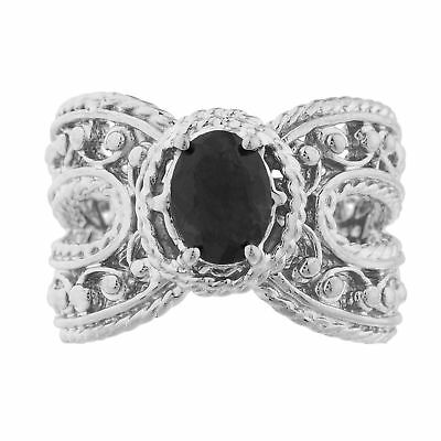 1ebc506488180 BLACK ONYX RING Sterling Silver .925 Vint Art Deco Style Cocktail ...